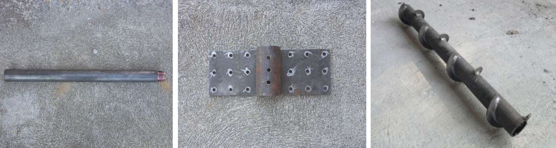 Foto 1: Modulo liscio Micropali Roto&Push, Foto 2: Piastra di collegamento Roto&Push, Foto 3: Modulo elicato Roto&Push